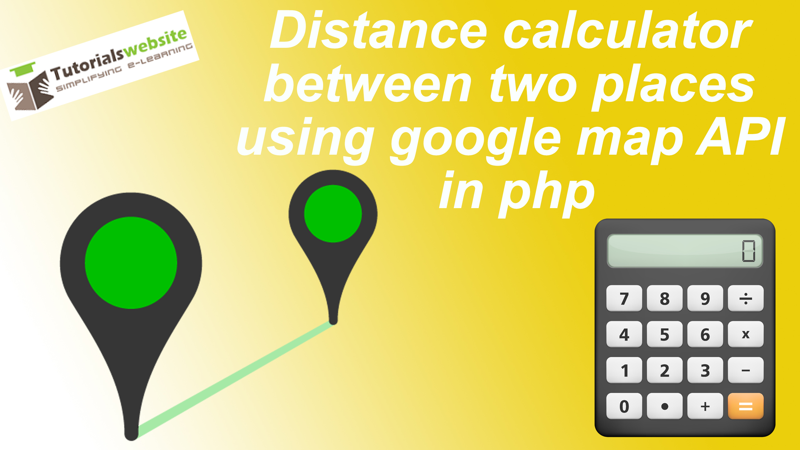 Distance calculator between two places using google map API in php on