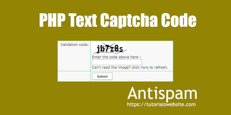 Text Captcha code without google captcha API using PHP