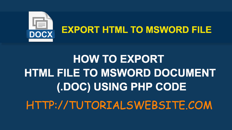 How to export HTML file to MS Word document ( doc) using php